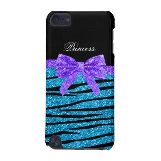 Princess blue glitter zebra stripes purple bow iPod touch 5G cover