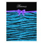 Princess blue glitter zebra stripes purple bow letterhead design