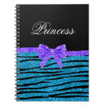 Princess blue glitter zebra stripes purple bow spiral notebooks