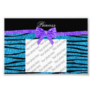 Princess blue glitter zebra stripes purple bow photo