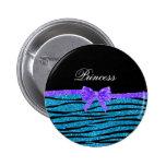 Princess blue glitter zebra stripes purple bow pin