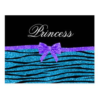 Princess blue glitter zebra stripes purple bow post card