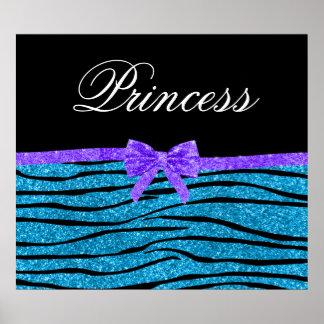 Princess blue glitter zebra stripes purple bow poster