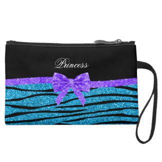 Princess blue glitter zebra stripes purple bow suede wristlet wallet