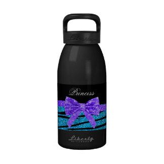 Princess blue glitter zebra stripes purple bow drinking bottles