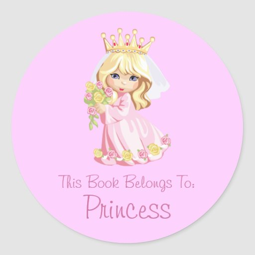 Princess Book Label Personalized Classic Round Sticker