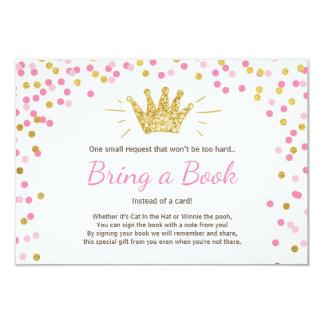 Princess Bring a book card Baby Shower Pink Gold