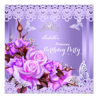 Princess Butterfly Purple Pink Rose Birthday Party Card