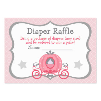 Princess Carriage Baby Girl Diaper Raffle Tickets Large Business Card