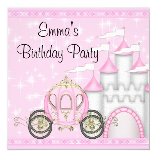 Girls 7th birthday party invitations announcements zazzle princess carriage castle girls princess birthday card stopboris Gallery