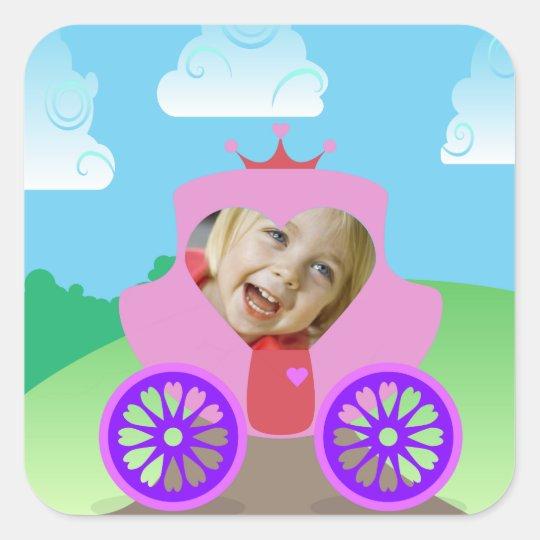 Princess Carriage Custom Photo Square Sticker
