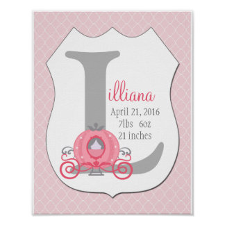 Princess Carriage Initial Birth Stats Art Print