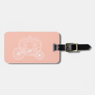 Princess Carriage on Coral Pink Color. Luggage Tag