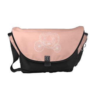 Princess Carriage on Coral Pink Color. Messenger Bag
