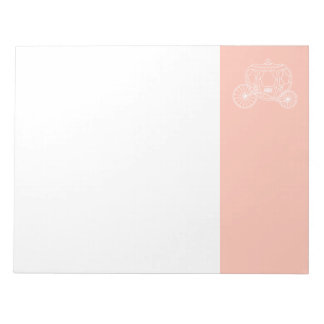 Princess Carriage on Coral Pink Color. Notepad