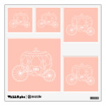 Princess Carriage on Coral Pink Color. Wall Graphics