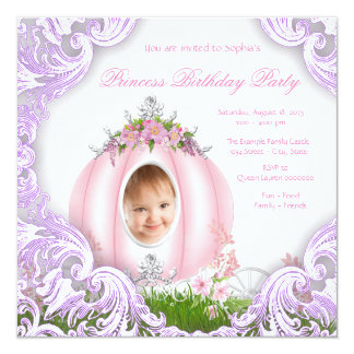 Princess Carriage Photo Birthday Party Card