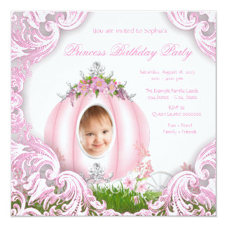 Princess Carriage Photo Birthday Party 5.25x5.25 Square Paper Invitation Card