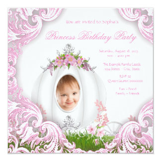 Princess Carriage Photo Birthday Party White Card