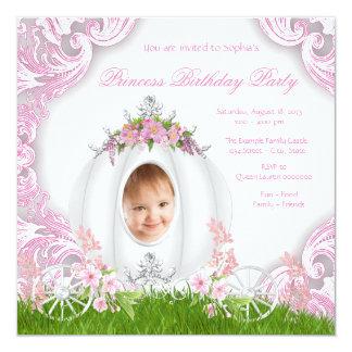 Princess Carriage Photo Birthday Party White 5.25x5.25 Square Paper Invitation Card