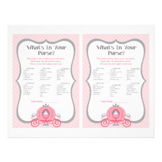 Princess Carriage Pink Baby Shower Purse Game Flyer
