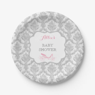 Princess Carriage Storybook Pink Damask Fairytale Paper Plate
