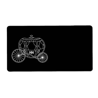 Princess Carriage, White on Black. Label
