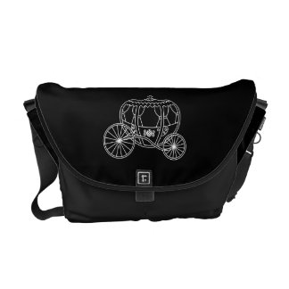 Princess Carriage, White on Black. Messenger Bag