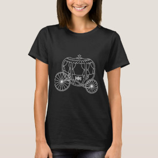 Princess Carriage, White on Black. T-Shirt