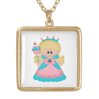Princess Cartoon Girl Holding Cupcake Pink Teal Square Pendant Necklace