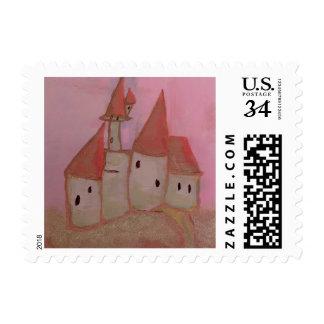 Princess castle acrylic on canvas stamp