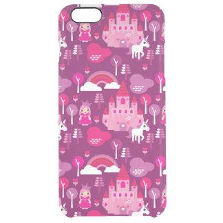 princess castle and unicorn rainbow clear iPhone 6 plus case