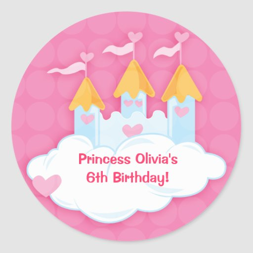 Princess Castle Custom Birthday Favor Stickers