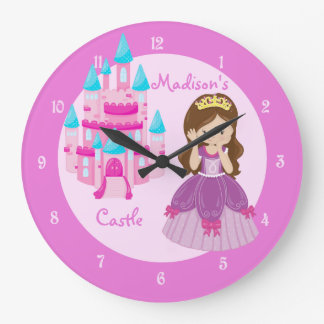 Princess Castle Custom Pink Clock