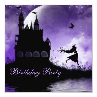 Princess & Castle Girls Purple Birthday Party 5.25x5.25 Square Paper Invitation Card