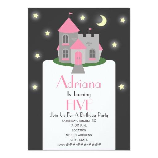 Princess Castle Moon & Stars Birthday Party Card