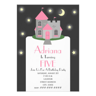 Princess Castle Moon & Stars Birthday Party Personalized Announcement