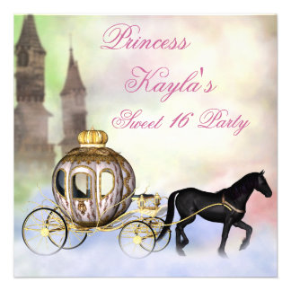 Princess Castle Royal Carriage Princess Sweet 16 Personalized Invite
