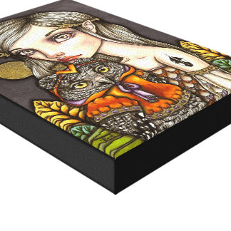 Princess Celine and Her Majesty the Owl Canvas Prints