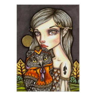 Princess Celine and Her Majesty the Owl Poster