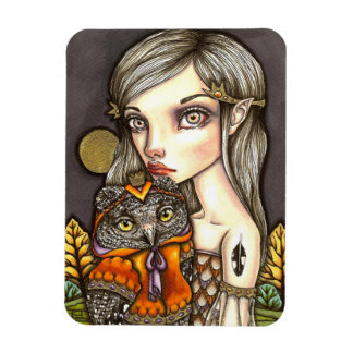 Princess Celine and Her Majesty the Owl Rectangular Photo Magnet