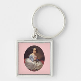 Princess Charlotte of Belgium Silver-Colored Square Keychain
