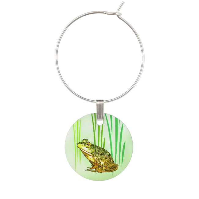 Princess Charming Green Frog Wine Charm