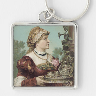 Princess Chocolate Trade Card Silver-Colored Square Keychain