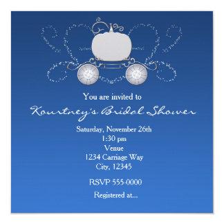 """Princess Cinderella Carriage Heart Blue Invitation 5.25"""" Square Invitation Card"""