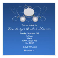 Princess Cinderella Carriage Heart Blue Invitation