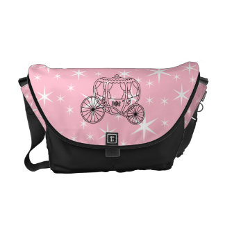 Princess Coach Design in Black and Pink. Messenger Bags