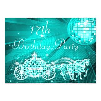 Princess Coach & Horses & Disco Ball 17th Birthday Card