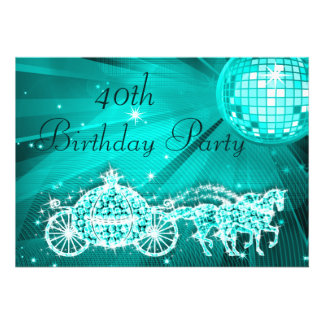 Princess Coach & Horses & Disco Ball 40th Birthday Personalized Announcements