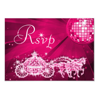 Princess Coach & Horses & Disco Ball RSVP Card